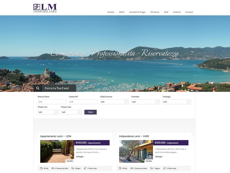realizzazione sito web lm immobiliare lerici