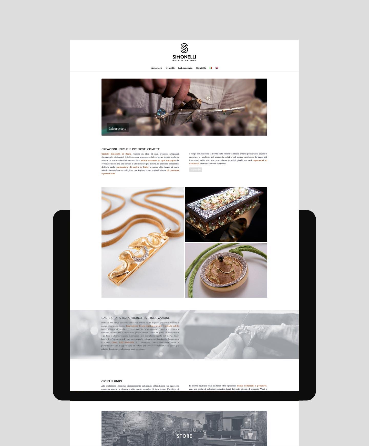 realizzazione sito web per gioielli simonelli